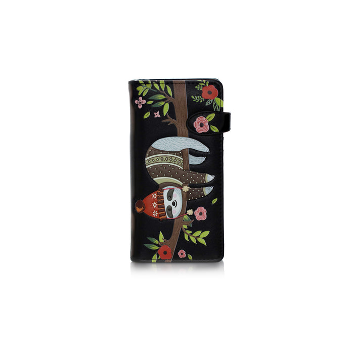 Shagwear Chilin' Sloth Large Zipper Women's Wallet, Black