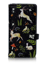 Shagwear Rabbits and Deer Large Zipper Women's Wallet, Black