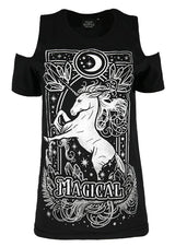 Magical Unicorn Gothic Women's Cold Shoulder Shirt, Gray