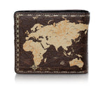 Shagwear Vintage Map Bi-Fold Faux Leather Men's Wallet, Brown