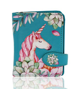 Shagwear Unicorn Small Zipper Women's Bi-fold Zipper Wallet, Teal