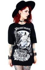 Nevermore Gothic Raven Oversized T Shirt, Black
