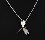 Shagwear Small Dragonfly Brushed Stainless Steel Necklace