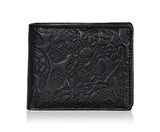 Shagwear Skull Pattern Men's Bi-Fold Faux Leather Wallet, Black