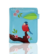 Shagwear Red Chested Bird Small Zipper Bi-Fold Women's Wallet, Blue
