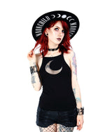 Gothic Moon Mesh Tank Top, Black
