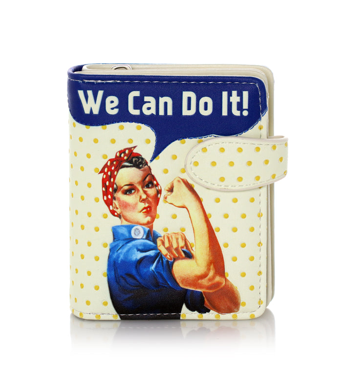 Shagwear Rosie Riveter We Can Do It Small Zipper Wallet, Cream