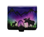 Moose Scene Small Zipper Women's Wallet, Black
