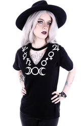 Moon Symbols Gothic V-Neck Shirt, Black