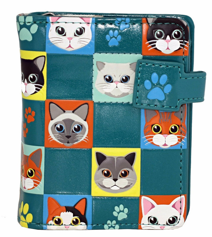 Shagwear Cat Checkers Small Zipper Bifold Wallet, Teal