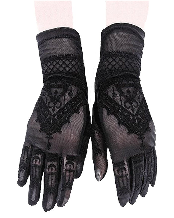 Gothic Mesh Henna, Mehndi Pattern with Alchemical Symbols Gloves