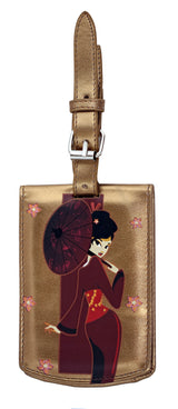 Shagwear Japanese Girl Faux Leather Luggage Tag, Metallic Brown