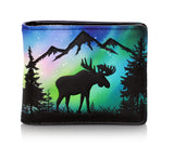 Shagwear Moose Scene Bi-Fold Faux Leather Men's Wallet, Black