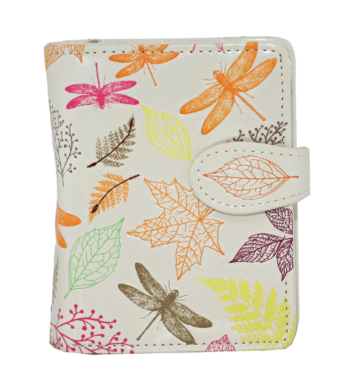 Shagwear Autumn Dragonflies Small Zipper Women's Wallet, Cream