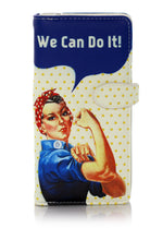 Shagwear Rosie Riveter Large Zipper Wallet, Cream