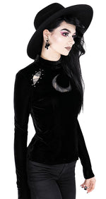 Over the Moon Gothic Black Velvet Blouse