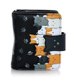 Shagwear Kitty Crowd Small Zipper Wallet, Black