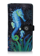 Shagwear Sea Horse Large Zipper Wallet, Black