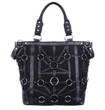 Gothic Black Denim O-Ring Tote Bag