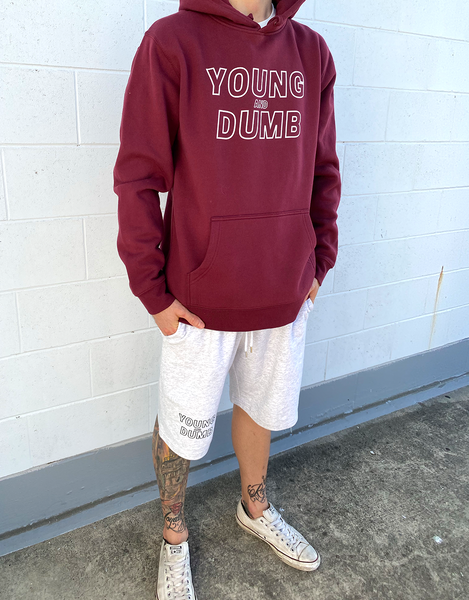 Young and Dumb maroon hoodie