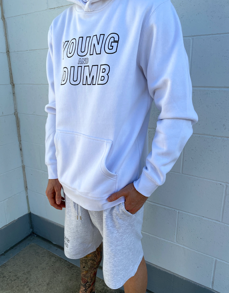 Young and Dumb white hoodie