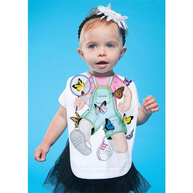Just Add A Kid - Bib Butterfly Girl One-Size - 0 to 12 Months