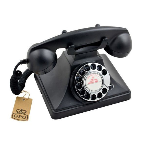 GPO 200 Classic, vintage telephone with rotary dial, Black