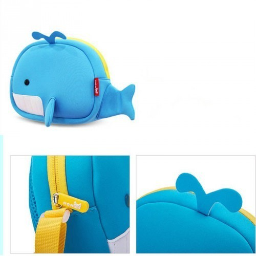 Nohoo - Whale 3D Water Resistance Kids Crossbody Messenger Bag - 2 to 8 Years - Blue