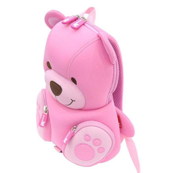 Nohoo - Bear 3D Water Resistance Kids Backpack - 3 to 6 Years - Pink