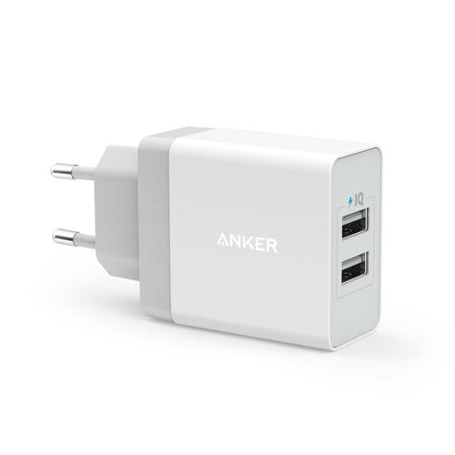 Anker    - PowerPort 2 Premium Dual Port USB Wall Charger - White