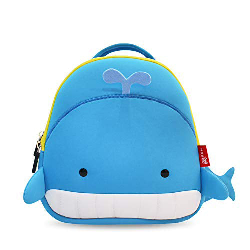 Nohoo - Whale Face 3D Water Resistance Kids Backpack - 2 to 6 Years - Blue