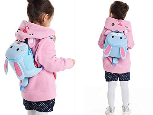 Nohoo - Rabbit 3D with Anti-Loss Rope Water Resistance Kids Backpack - 1 to 4 Years - Blue