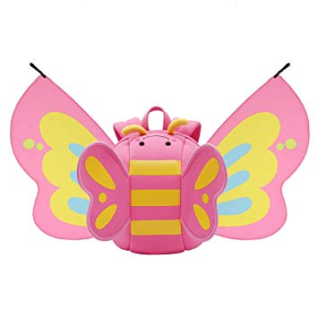 Nohoo - Butterfly 3D Water Resistance Kids Backpack with Folding Wings - 2 to 6 Years - Turquoise or Pink