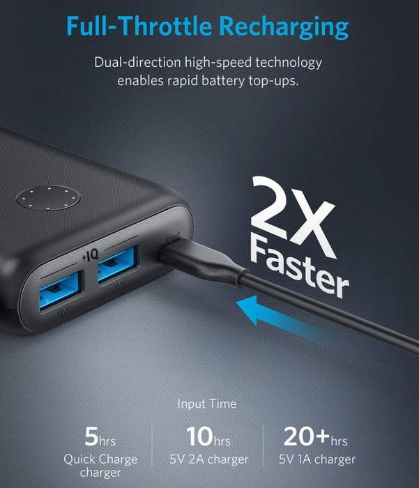 Anker - PowerCore II 2-Port 20000mAh Power Bank  - Black