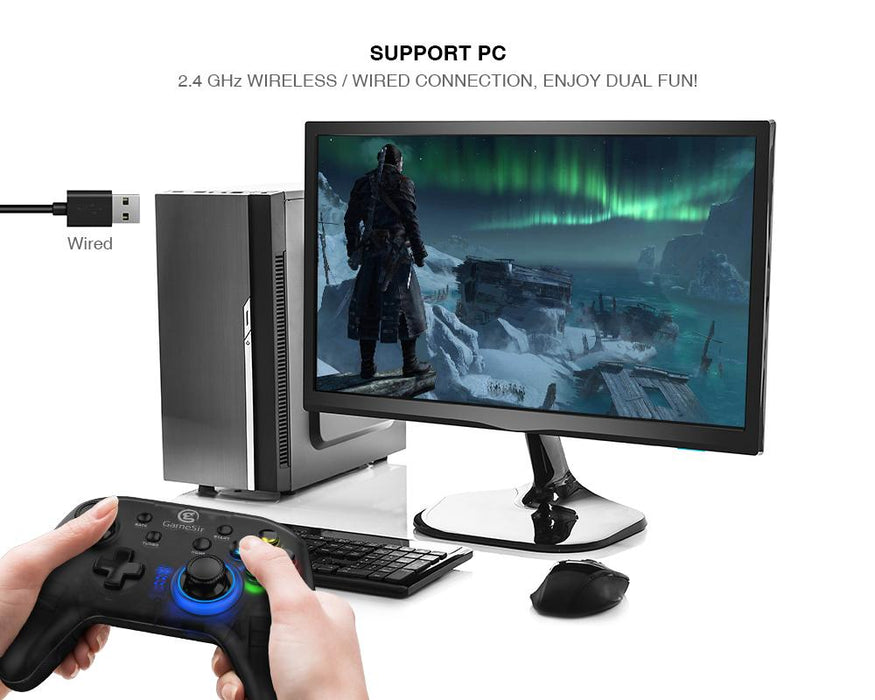 GameSir  - T4 Wireless Gaming Controller, Rechargeable Dual Shock Gamepad Joystick, Semi-Transparent Design with LED Backlight