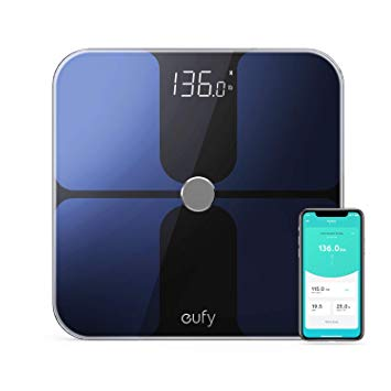Anker - Eufy Smart Scale with Bluetooth, Body Fat Scale, 12 Measurements, Weight/Body Fat/BMI, Fitness Body Composition Analysis, lbs/kg - Black