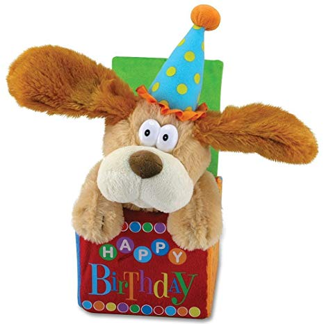 Cuddle Barn - Musical Plush Flappy Birthday Dog 12""