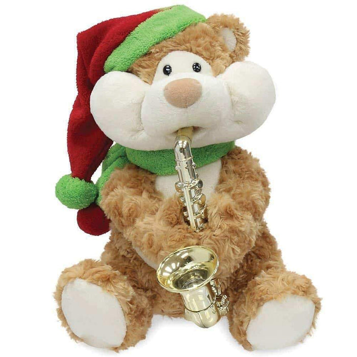 Cuddle Barn - Musical Plush Christmas Cheeks Teddy Bear 12""