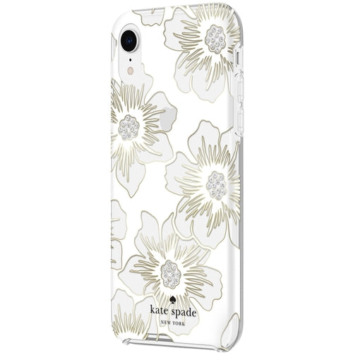 Kate Spade - iPhone XS Max Reverse Hollyhock Floral Defensive Hardshell Case - Clear/Cream With Stones
