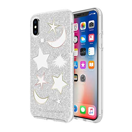 Rebecca Minkoff Iphone X Double Protection Case - Silver Glitter / Clear / Metallic Foil (2037387853881)