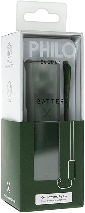 Philo - Portable Power bank 2600mAh with Nylon Braided Strap - Green