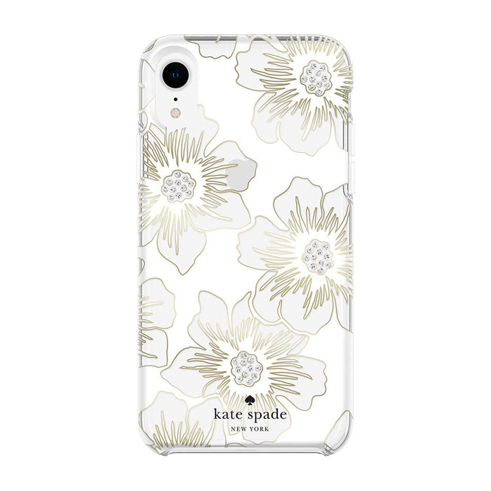 Kate Spade - iPhone XR Reverse Hollyhock Flora  Defensive Hardshell Case - Clear/Cream