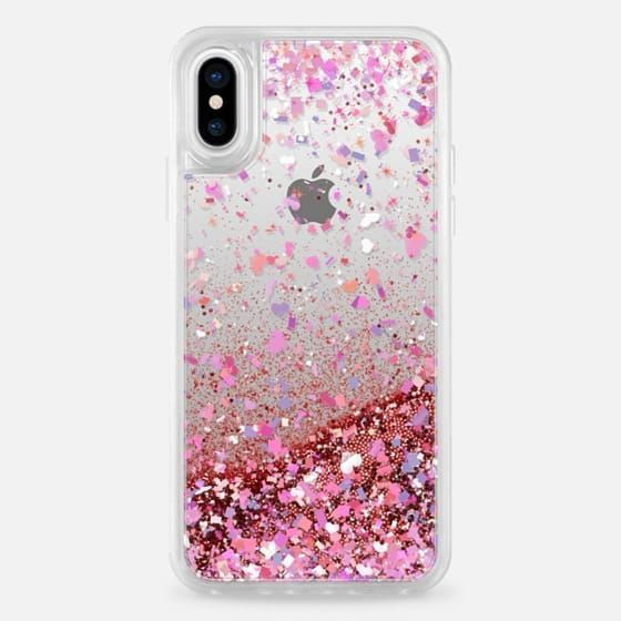 Casetify Iphone X - Glitter Case - Rose Gold - Confetti Hearts