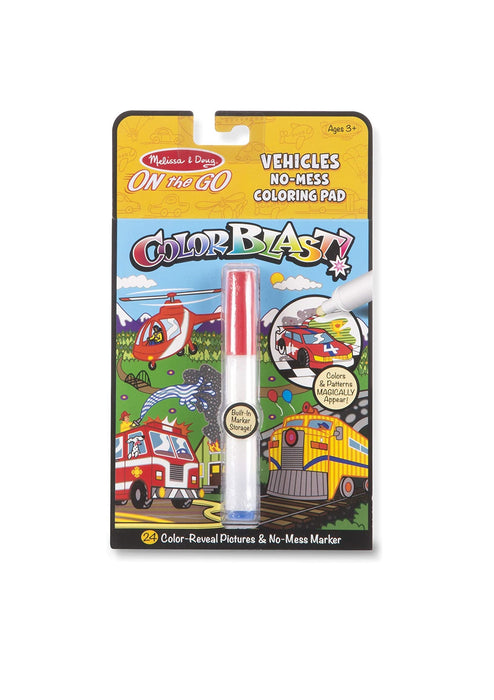 Melissa & Doug   - On the Go Color Blast No Mess Coloring Pad Vehicles