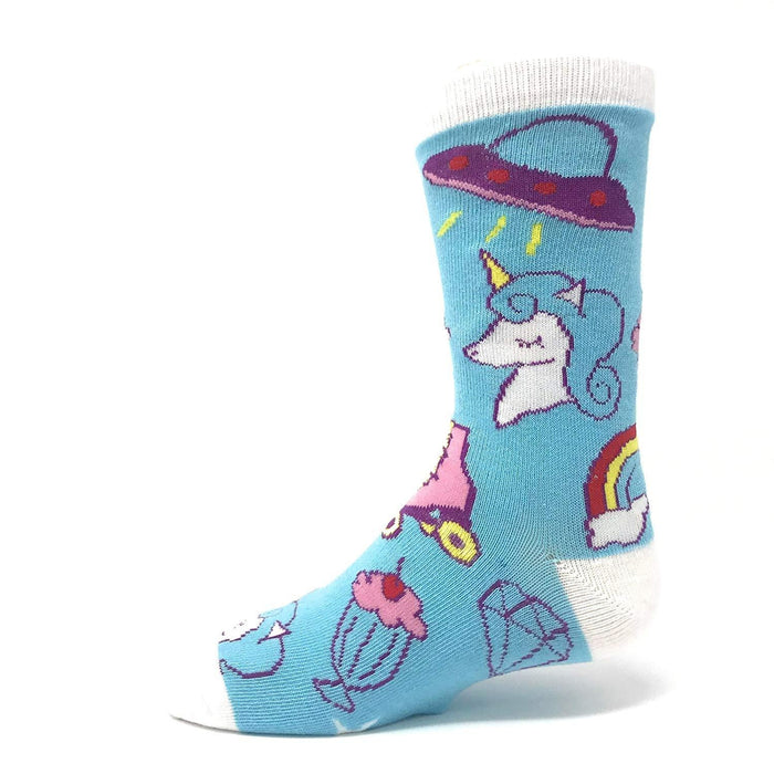 OoohYeah Socks - Youth Crew Cute Unicorn, Skates & Cupcakes