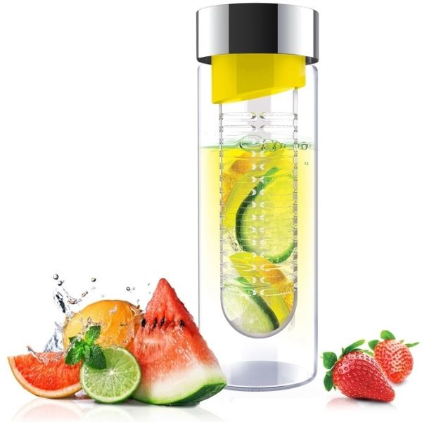 <strong>Asobu</strong> - Flavor It Glass Water Bottle With Fruit Infuser 20 Ounce - YELLOW / SILVER