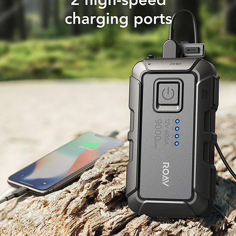 Anker - Roav Jump Starter Portable Power Bank 12V 9000mAh for Gasoline Engines up to 2.8L, and Built-In LED Flashlight