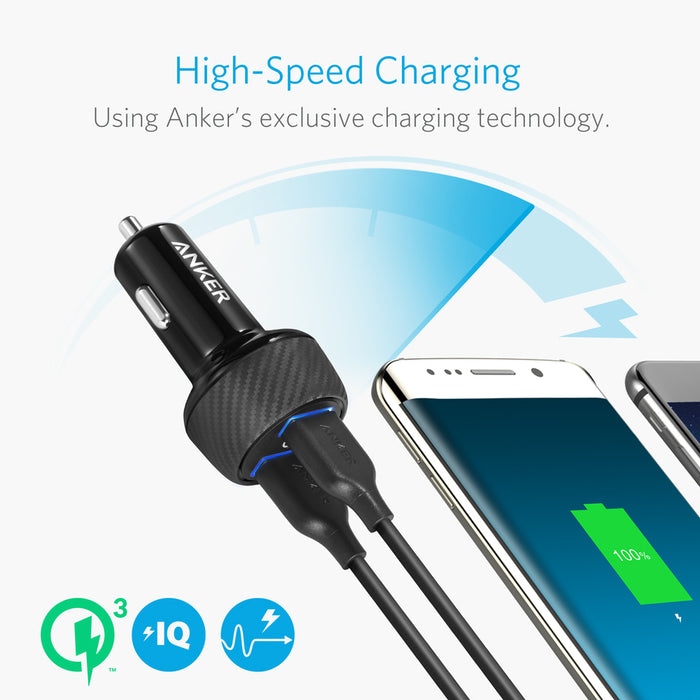 Anker - PowerDrive Speed 2 Ports Quick Charge 3.0 39W Dual USB Car Charger - Black