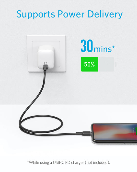 Anker - Powerline+ 1m USB-C with Lightining Connector - Black