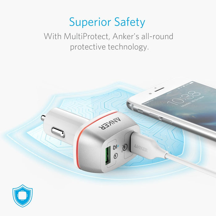 Anker - PowerDrive + 2 with Quick Charger 3.0 USB Car Charger - White